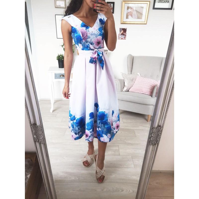 Družičkovské šaty dlouhé lila s modrými květy - Yes cf2d1efde98