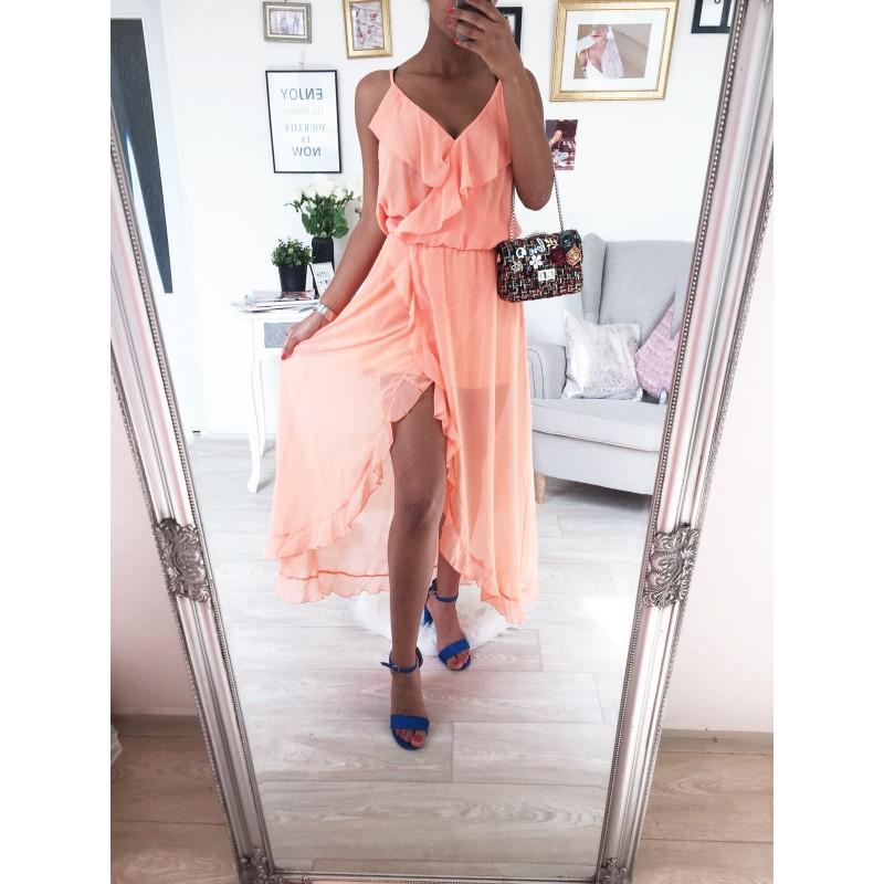 Dlouhé šaty s volánem Oranžové Princess - Yes e54aa47f9d8