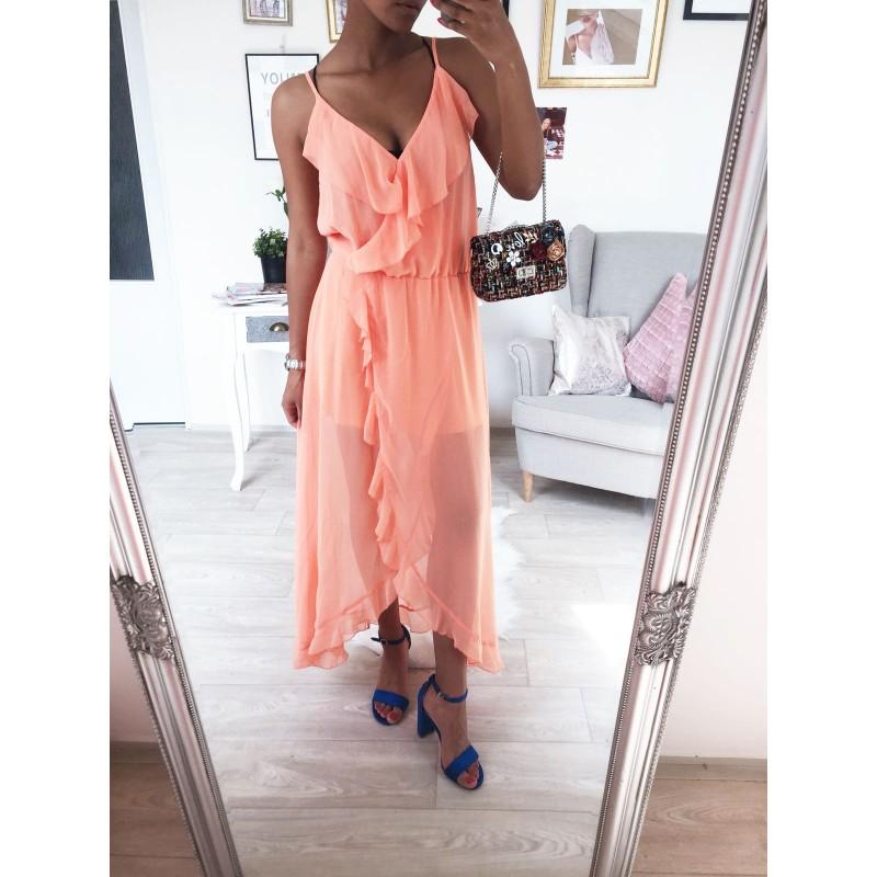 ... Dlouhé šaty s volánem Oranžové Princess ... 14ea754467a