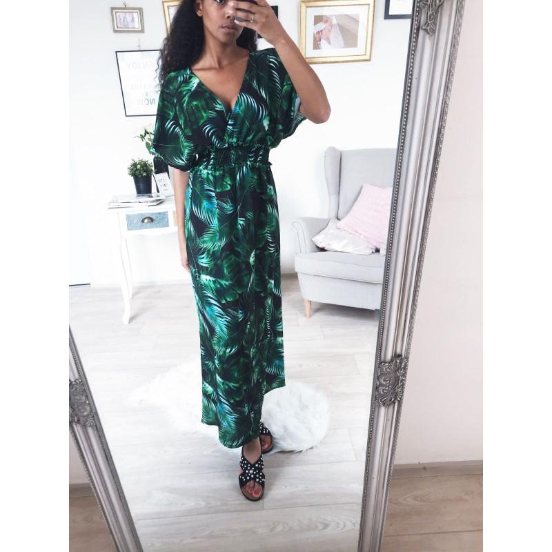 d5f470c12d8c ... Dlouhé šaty s rukávem Hawai - zelené ...