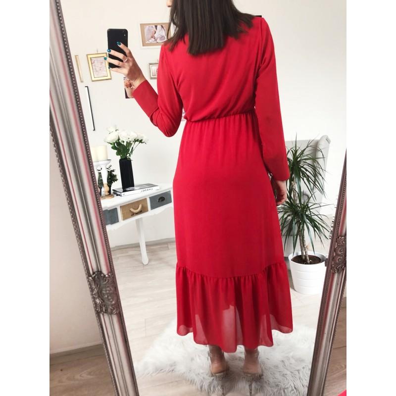 4b0b5961263f ... Dlouhé červené šaty s vázáním u krku ...