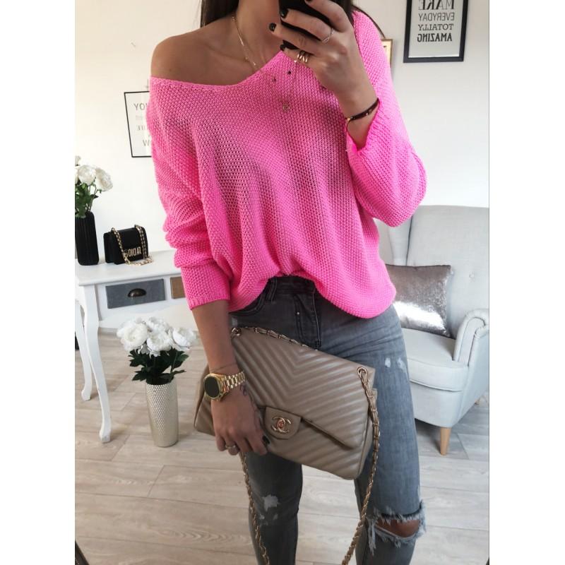 ... Háčkovaný Luxury svetr - neon růžový ... 6a84664b14