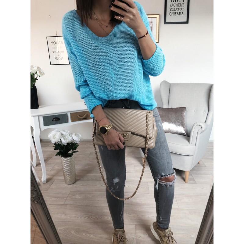 Háčkovaný Luxury svetr - neon modrý - Yes 36d82f344c