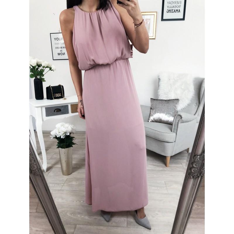 Dlouhé družičkovské šaty Pudrové - Yes de2c413e9c6