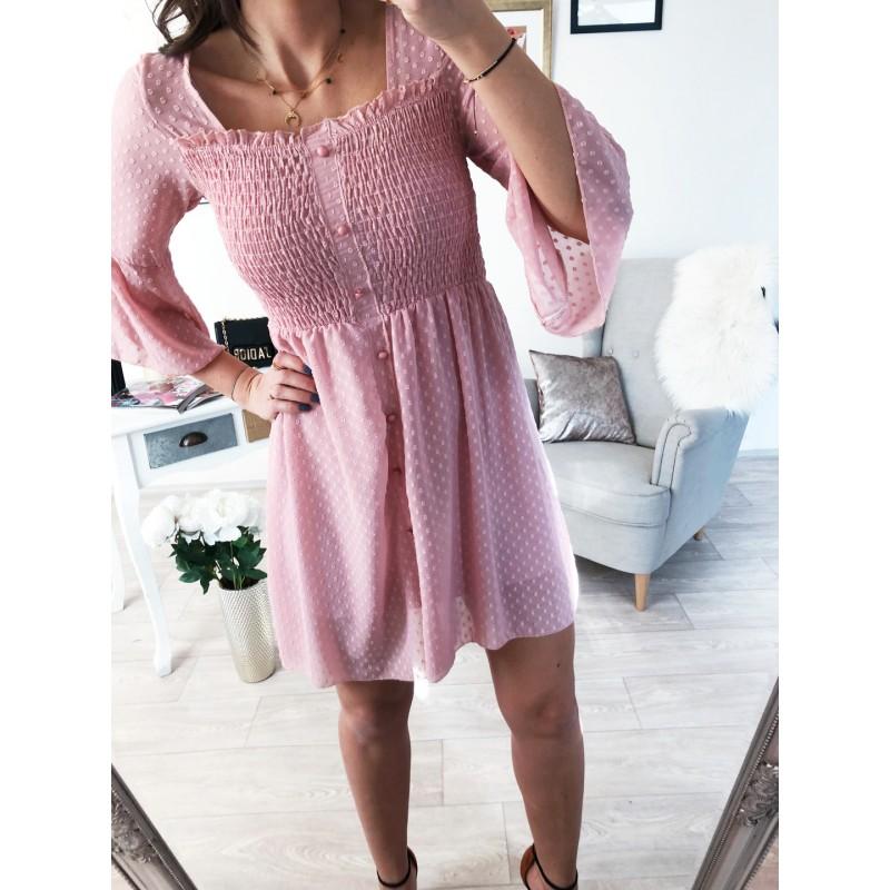 Šifónové šaty Carie pudrové - Yes cce4a3f535d