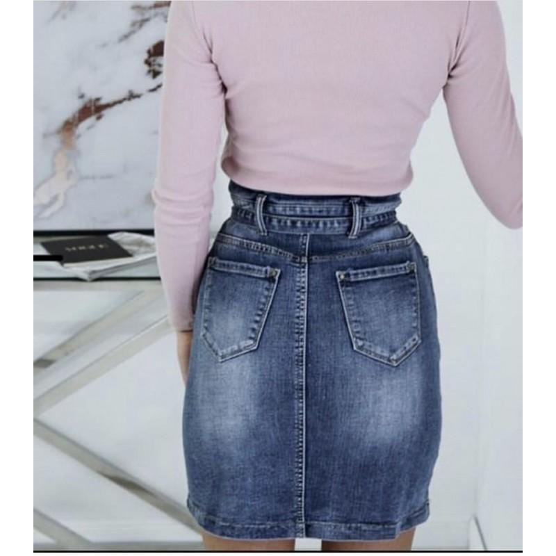 2684c9e6ce58 Džínová sukně s riflovým páskem v pase - Yes