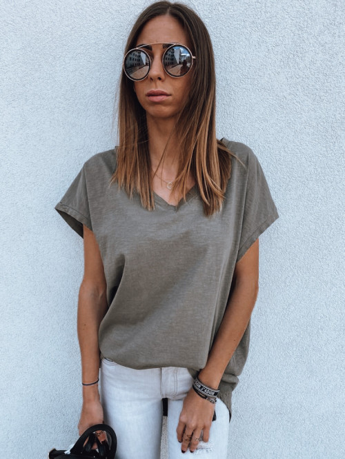 Basic triko V-neck khaki